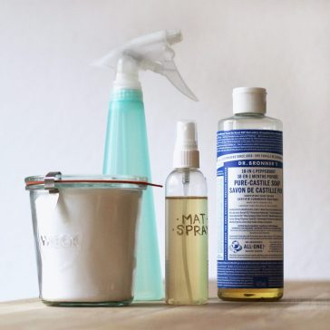 Simple, green cleaning products - vinegar, baking soda, and Dr. Bronner's liquid soap