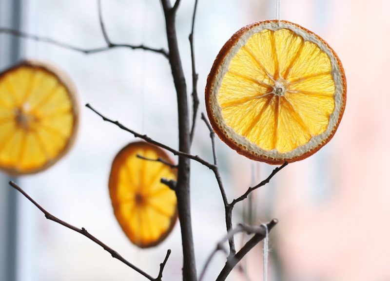 dried orange slices hanging on branches