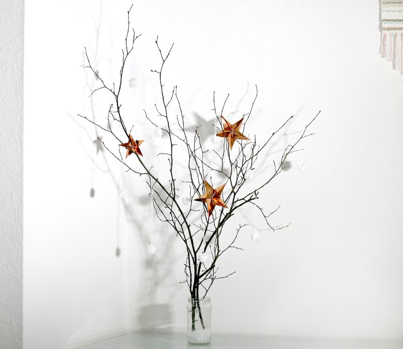DIY decorated pom-pom branches