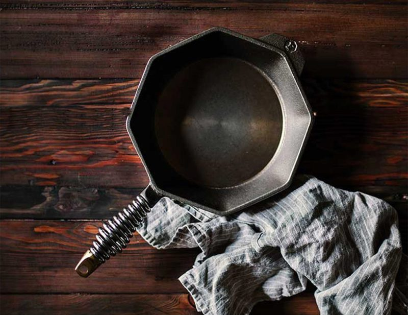Cast iron Finex skillet with a lifetime guarantee