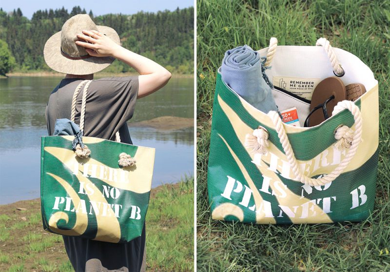 Remember Me Green - beach totes and bags made from recycled NYC billboards