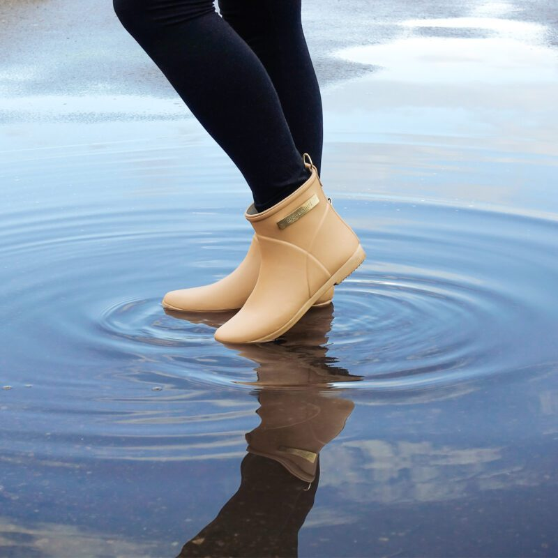 Alice + Whittles natural rubber ankle rain boots in mustard